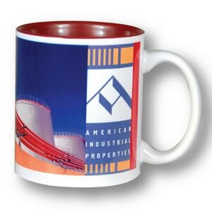 White with Burgundy Interior C Handle Mug - 11oz.