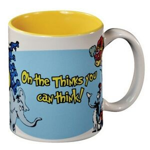 White with Yellow Interior C Handle Mug - 11 oz.