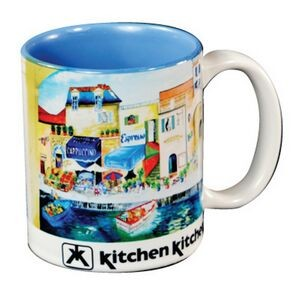 White with Light Blue Interior C Handle Mug - 11 oz.