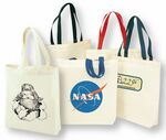 Custom Two Tone Cotton Canvas Tote Bag w/ Gusset
