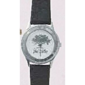 Cut Case Series Roman Slim Silver Watch w/ Black Strap