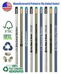 Custom Recycled Newspaper Pencils with Black Eraser