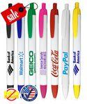 Custom Closeout USA Made Elegant White Clicker Promo Pen - No Minimum
