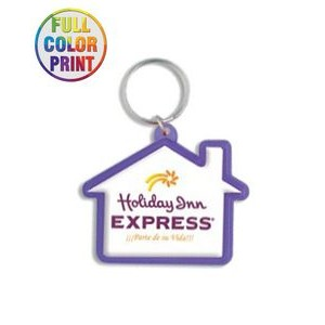 House Shaped Plastic Keychain -Full Color Dome