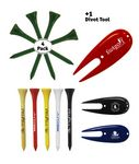 Custom Golf Tee Pack - 4 x Wooden Golf Tees & 1 Divot Repair Tool Packed In A Poly Bag