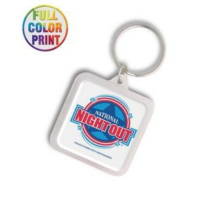 Square Shaped Plastic Keychain -Full Color Dome