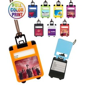 Full Color Suitcase Shaped Luggage Tag with Pop Up Cover