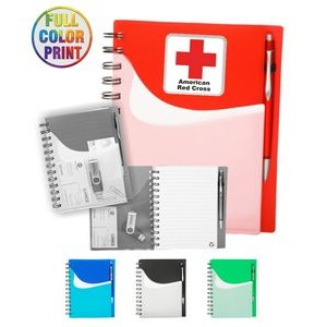 Two Tone Wave Notebook w/Sliding Pocket -Full Color
