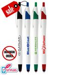 Custom Closeout Elegant White Stylus Clicker Promo Pen - No Minimum