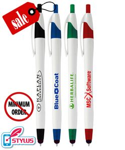 Closeout Elegant White Stylus Click Pen - No Minimum