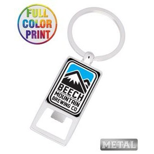 Aluminum Beer Bottle Opener Keychain - Full Color