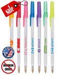Custom Closeout Certified USA Made Frosted Colored Stick Promo Pen - No Minimum