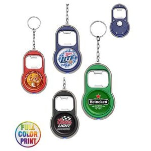 Beer Bottle Opener w/LED Light Keychain - Full Color Print