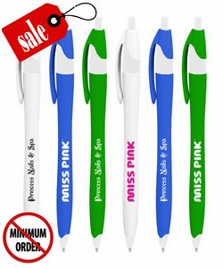 Bargain Decorative Clicker Pen with Rubber Grip - No Minimum