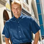 Custom Van Heusen Short Sleeve Oxford Button-Down Dress Shirt