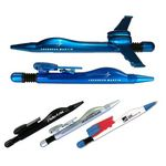 Custom Blue Airplane Ballpoint Pen With Folding Wings - Blue