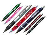 Custom Blue Chrome Colored Ballpoint Pen w/Comfort Grip