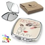 Custom Luxury Square Pocket Mirror with Polished Plate & Silver Pattern Accent