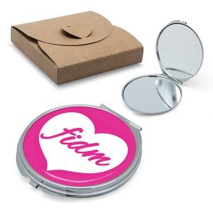 Round Compact Mirror with Epoxy Logo Plate