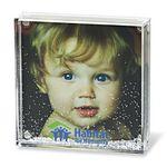 Custom Acrylic Square Photo Frame Block W/ Water & Glitters