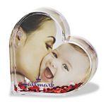 Custom Acrylic Heart Photo Frame Block W/ Water & Glitters