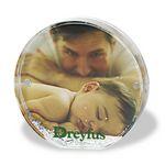 Custom Acrylic Round Photo Frame Block W/ Water & Glitters