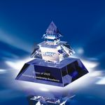 Custom Legend Of Success Crystal Pyramid Award - Blue/Clear (6