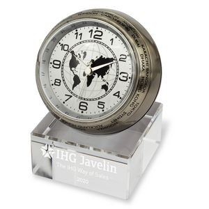 Globetrotter World Time Clock with Crystal Base