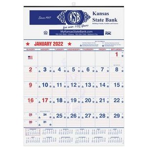 "Patriotic Red & Blue Contractor Calendars w/1 Image (18"" x 25"")"