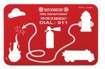 Custom Stock Fire Station Stencil w/Truck & Symbol Cutouts - 1 Color