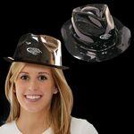 Custom Black Plastic Fedora Gangster Hat