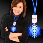 Custom Blue LED Snowflake Necklace with Extra Large Pendant