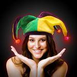 Custom Light Up Mardi Gras Velvet Jester Hat