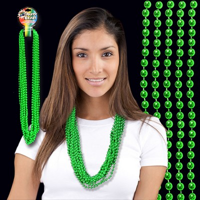 "33"" Metallic Green Round Beads Necklace"