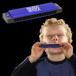 Custom Blue Metal Harmonica - 5 Inch