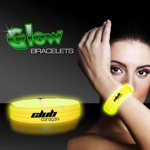 "9"" Deluxe Single Color Triple Wide Yellow Glow Bracelet"