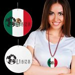 Custom Mexican Flag Plastic Medallions - 2 1/2