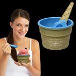 Custom Blue Ice Cream Bowl and Spoon Set