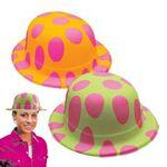 Custom Polka Dot Plastic Neon Derby Hat