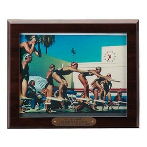 "Walnut Finish Plaque w/8""x10"" Photo Window & Engraving Plate (10"" x 12"")"