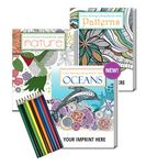 Custom Gift Pack - 3 Stress Relieving Coloring Books for Adults + 10-Pack of Colored Pencils