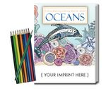 Custom Relax Pack - Oceans Coloring Book for Adults + Colored Pencils