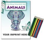 Custom Relax Pack - Animals Coloring Book for Adults + Colored Pencils
