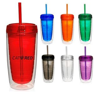 16 oz Double Wall Insulated Acrylic Tumbler Mug with Matching Lid and Straw