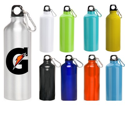 24 oz Oryza Aluminum Performance Sport Water Bottle With Carabiner and Twist Cap