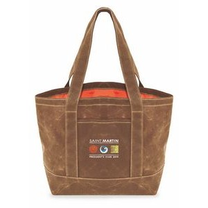 Waxed Canvas Large Two Tone Tote Bag