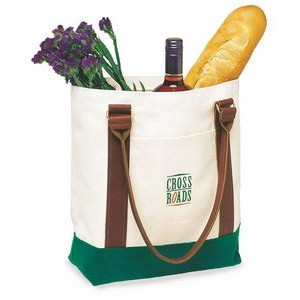 Extra Large Two Tone Tote Bag (Leather Handles)
