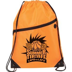 Sports Drawstring Backpack w/ Front Zipper and Ear buds Port