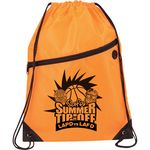 Custom Sports Drawstring Backpack w/ Front Zipper and Ear buds Port