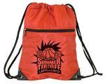 Custom Athletic Drawstring Backpack w/ Front Zipper